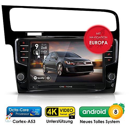 Autoradio Android 8.0 Oreo CREATONE AWS-9600 für VW Golf 7 (ab 2012 -) inkl. Can-Bus | 2DIN Naviceiver | GPS Navigation (aktuelle Europa-Karten 2018 mit Radarwarnungen) | DAB+ DigitalRadio | Touchscreen 9 Zoll (23cm) | USB bis 4TB l Octa-Core Cortex A53 CPU | 4GB RAM | 32GB integriert | 4K Ultra HD 3840x2160 Video Unterstützung | WLAN | Bluetooth 4.0 (iOS und Android) | MirrorLink | OBD 2 | RDS (1,7-ghz-dvd)