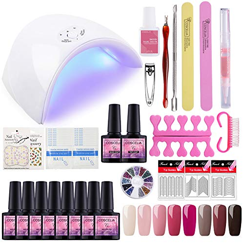Saint-Acior 8PCS Esmalte de Uñas Semipermanente Uñas de Gel Soak off 8ml Nail Dryer 36W UV/LED Lámpara...