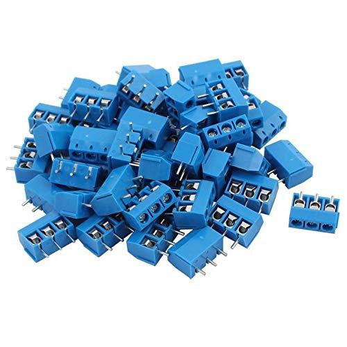 Comomingo 100 STÜCKE KF301-3P 5,08mm Pitch 3 Pin Plug-in PCB Schraube Block Steckverbinder (Blau) Digital-multimeter Plug-in
