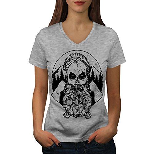 wellcoda Hipster Bauholz AXT Schädel Frau S V-Ausschnitt T-Shirt