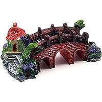 Mioloe Peces tanque paisaje decoración puente acuario equipo accesorios resina tres ojo puente