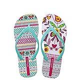 Hotmarzz Sandalias Mujer Zapatos Chanclas de Verano Playa Hojas Flor Asimétrico Moda Pantuflas Planas Zapatillas de Casa Piscina Size 38 EU/39 CN, Verde