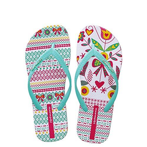 Hotmarzz Sandalias Mujer Zapatos Chanclas de Verano Playa Hojas Flor Asimétrico Moda Pantuflas Planas Zapatillas de Casa Piscina Size 39 EU / 40 CN, Verde
