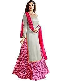 Fkart Women's Pink Georgette & Banglori Silk Semi-stitched Salwar Suit With Dupatta (free_size)