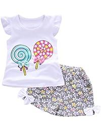 ❤️ Amlaiworld Bebe Niña Camiseta Sin mangas y Pantalones cortos Florales Verano Conjunto de Ropa 12 Mes - 4 Años