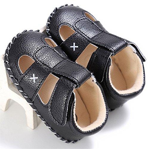 Confortables Tout-petits Sandales d'Été Souples et Antidérapant Filles Chaussures Premiers Pas, 0-18 mois (Noir, S) Noir