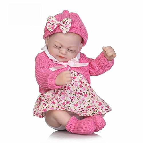 Chinatera Reborn Dolls Lifelike Realistic Vinyl Silicone Doll Bedding Bath Toy Gift Set 10.63 in Wisteria