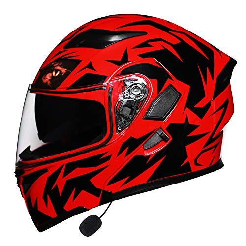 SLSMD Casco Integrale Moto Bluetooth, Casco da Motocross per Adulti antiappannante modulare Flip Double Parasole, con fanale Posteriore a LED,Red,XL