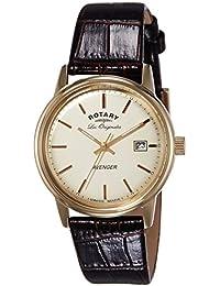 Rotary GS90115/01 - Reloj de pulsera hombre, piel, color negro