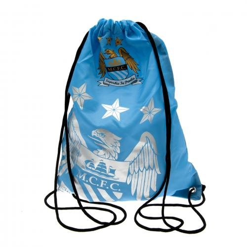Manchester City F.C.-Bolsa de deporte fpdrawst Anillo funda, ojales, metal, aprox. 44cm x 33cm plano en la tarjeta Header, merchandising de oficial de fútbol