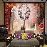 Pbldb Elk Maple Leaf Wald Bild Dekor Malerei 3D Wandbild Tapete Für Wände 3 D-250X175Cm