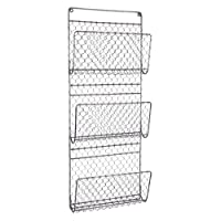 Dibor Wall Mounted 3 Compartment Black Metal Rack Wall Store Holder - H72cm
