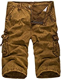 Herren Casual Cotton Twill Cargo Shorts 3 4 Multi Taschen Sommer Loose Fit  Outdoor Tragen 12455cc086