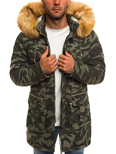 OZONEE Herren Winterjacke Parka Jacke Kapuzenjacke Wärmejacke Wintermantel Coat X-Feel 88620 Camo L