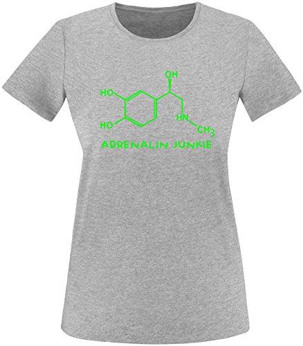 EZYshirt® Adrenalin Junkie Damen Rundhals T-Shirt Grau/Neongrün
