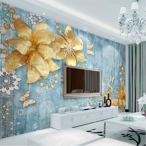 Zybnb Benutzerdefinierte 3D Fototapete Goldenen Schmuck Blumen Blau Strukturierten Mediterranen Europäischen Stil Tv Hintergrund Wandmalerei-120X100Cm