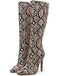 b969240d63d88b Dasongff Damen Tanzschuhe Hohe Stiefel Schlangen Muster Boots Frauen  Klassische Leicht gefüttert Flandell Schlupfstiefel