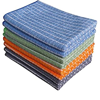 Gryeer Bamboo and Microfibre Tea Towels - Pack of 8 (2 Cool Grey, 2 Blue, 2 Green, 2 Orange) - Super Soft, Absorbent and Antibacterial Kitchen Towels, 45 x 65 cm