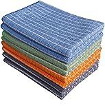 Gryeer 8er-Set Bambus und Microfaser Geschirrtücher (2 Grau, 2 Blau, 2 Grün, 2 Orange) – Super weiche, saugfähige und antibakteriell Küchentücher, 45 x 65cm