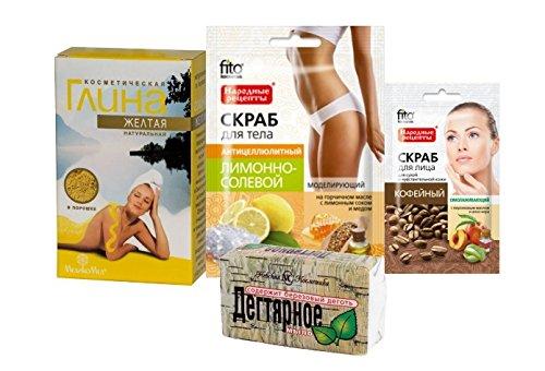 cura-del-corpo-kit-giallo-argilla-cosmetica-medikomed-100g-tar-soap-bar-nevacosmetic-140g-cofee-viso