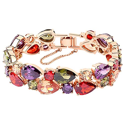 KAXIDY Frauen Damen Armband Bunt Rosegold Vergoldet Kristall Armbänder Armreifen Modeschmuck