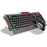 Gaming Tastatur,QcoQce Mechanisches Gefühl Regenbogen LED Tastatur, Multicolor Hintergrundbeleuchtung Computer Tastatur mit Maus (K33 Tastatur)