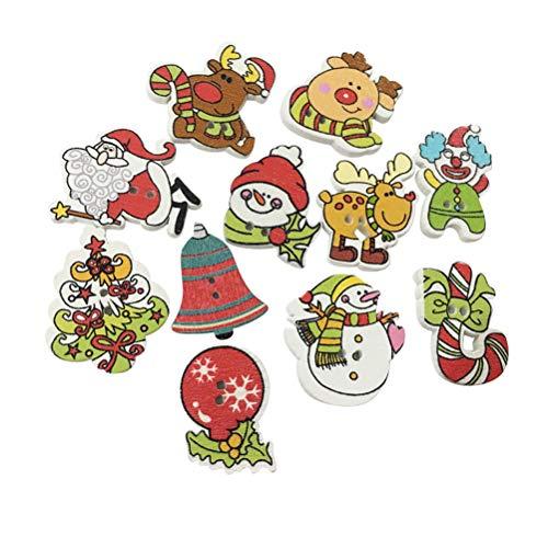 BESTOYARD 100 Stück Weihnachtsknöpfe aus Holz zum Nähen, Basteln, Mini-Weihnachtsbaum, Schneemann, Weihnachtsmann, Rentier, gemischte Muster