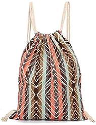 Sannysis mujeres mochilas de lona, raya de color, 34.5cm X 40cm (c)