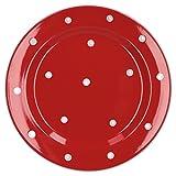 Van Well Emily Speiseteller rot-weiß gepunktet, rund Ø 275 mm, großer Flacher Steingut Teller, Essteller