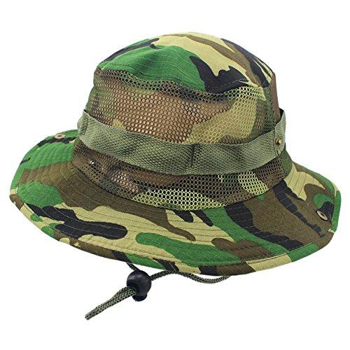 iShine Men's Outdoor Hat,Wide Brim Mesh UPF 50+ Protection Camouflage Boonie Outdoor Sun Hat