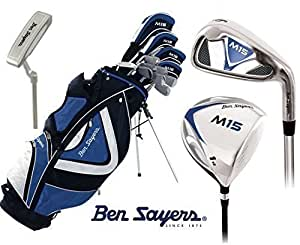 Ben Sayers - Ensemble Golf Complet M15 Sac Sur Pied Hommes Bois Graphite Fers Acier Capuches Tête + Parapluie