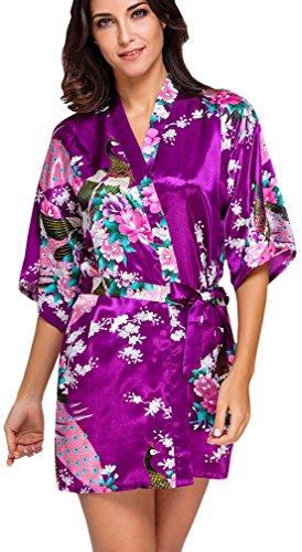 FLYCHEN Donna Accappatoi Kimono da Notte in Raso festa di nozze Camicie da Notte Porpora Scura