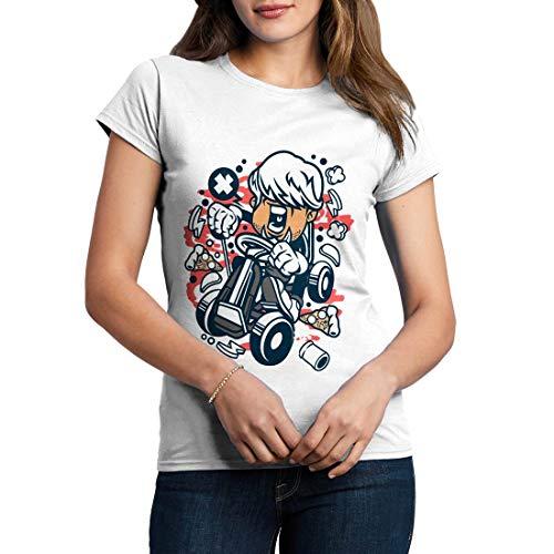 C123WCNTW Damen T-Shirt Gokart Bastard Sport Go Kart Racing Karting World Champion Speed Race Team Engine Fast Ride Classic Vintage(Small,White) -