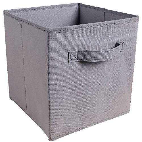 PQZATX Faltbare Stoff Aufbewahrungs Box Quadratischer Beh?Lter Stoff Organizer Aufbewahrungs K?Rbe Kindergarten Falten Schrank Schublade Eigenschaften Dual Griffe Grau