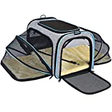 OMORC Pet Carrier, Dual-sided Expandable Cat Carrier Dog Carrier with Dual Side Inner Pad and Breathable Mesh, Portable Pet Travel Bag Spacious & Stable, Foldable for Easy Storage, for Cats, Puppy
