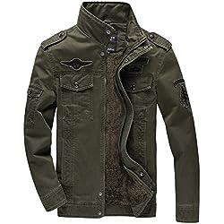 KEFITEVD Chaqueta de Primavera para Hombre Chaqueta de Bolsillos Múltiples Militares Chaqueta de Algodón Verde del Ejército
