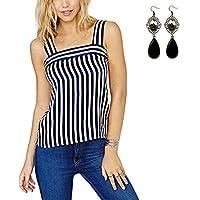 Sitengle Donna Canotta Retro Chiffon Canotte T Shirt Blusa a Righe Camicia Senza Maniche Camicetta Tank Top