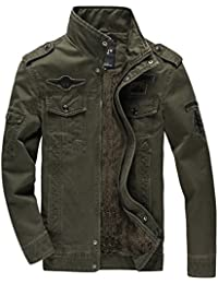 KEFITEVD Men's Winter Fleece Slim Fit Cargo Stand Collar Military Thicken Cotton Jackets Coat