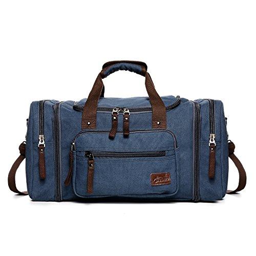 Fresion Unisex Canvas Reisetasche Tote Handtasche Männer Weekender Umhängetasche Freizeittasche Handgepäck für Frauen & Männer mit 44L (Blau)