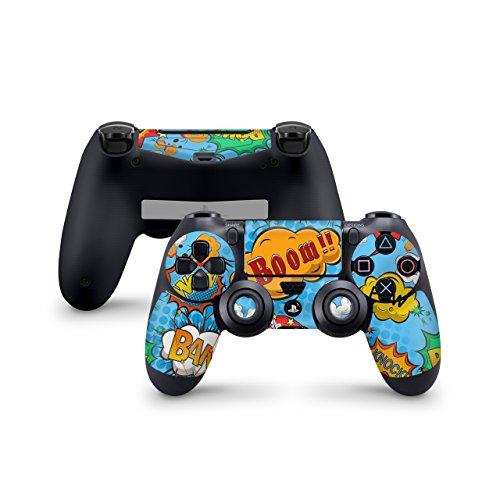Skins4u Aufkleber Skin Designfolie Controller Schutzfolie kompatibel zu Sony Playstation 4 Controller PS4 Comics Blau -