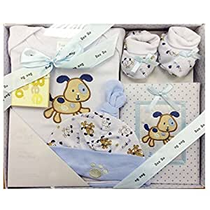 Really Cute 4 Piece Set By BeeBo Comprising Of Booties, Hat, Bodysuit And Photo Album Presented In Gift Box - Blue 0-3 Mths