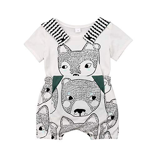 Frecoccialo Baby Jungen Kleidung Set 2 PCS Kurzarm Shirt + Latzhose Shorts Niedliche Tiere Gedruckte Neugeborenes Outfit Sommer Bekleidungsset 0-2 (Baby Tier Outfit)