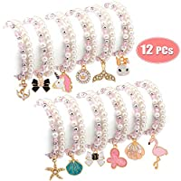 Tacobear 12pcs Friendship Bracelets for Girls Pearl Bracelet Pendant Animal Unicorn Bracelet Crystal Bead Charm Bracelets Princess Jewellery Party Bag Fillers for Kids (Double Layer)