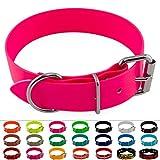 LENNIE BioThane Halsband, Edelstahl-Rollschnalle, 38 mm breit, Größe 38-48 cm, Neon-Pink, Aufdruck möglich