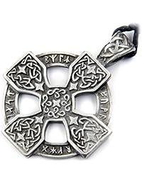 Anillo Cruz runas joyas amuleto talismán estaño, con colgador Longitud del colgante: 5 cm de largo, con correa de tela