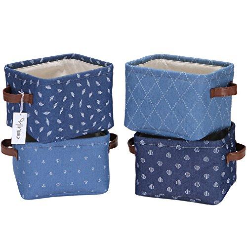 hinwo 4L MINI Größe Kinderzimmer Lagerplatz Korb faltbar quadratisch Denim Stoff Aufbewahrungsbox Container Organizer mit PU Leder Griffe für Regale und Schreibtische, Set 4, 20,1 x 16 x 14 cm -