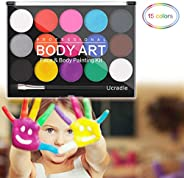 Face Paint Kit Professional Water Based Body Paint 15 Colors Washable Non-Toxic Paints 1 Paintbrush for Kid Se