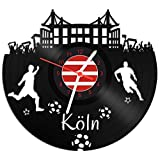 GRAVURZEILE Schallplattenuhr Köln - 100% Vereinsliebe - Upcycling Design Wanduhr aus Vinyl Made in Germany