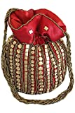 PHB3004 Rot und Gold Indische Potli/Batwa Tasche Indian Fancy Potli Bag One Size