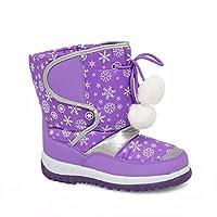 EnvyLondon Boys Girls Kids Pink Purple Fuchsia Grey Black Flower Winter Kids Fur Snow Moon Mucker Waterproof Wellington Wellies Boots Shoes Infant 3 4 5 6 7 8 9 10 11 12 13 1 2